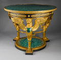 Furniture : Continental, AN EMPIRE-STYLE GILT BRONZE AND MALACHITE CENTER TABLE. Modern.33-1/2 x 43-1/4 x 43-1/4 inches (85.1 x 109.9 x 109.9 cm). ...