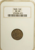 Bust Dimes, 1829 10C Small 10C MS63 NGC....