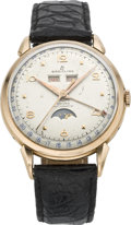 Timepieces:Wristwatch, Breitling Datora Automatic Gold Moon Phase Calendar, circa 1950's. ...