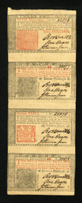 Colonial Notes:New Jersey, New Jersey March 25, 1776 3s, 12s, 18d, 12s Vertical Strip of Four About New....