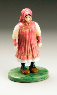 A RUSSIAN HARDSTONE FIGURE OF A PEASANT WOMAN Circa 1950 4-1/2 inches (11.4 cm) high  Composed of jade, prasol, malachit...