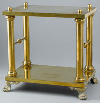 A BRASS PAW FOOT TABLE 20th Century 24 x 15-1/4 x 24 inches (61.0 x 38.7 x 61.0 cm)  Rectangular in form, the two-tiered...