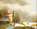 Paintings, Attributed to JACOB KORSTEN (Dutch, 1802-1876). Ice Skaters. Oil on board. 7-3/4 x 9-1/2 inches (19.7 x 24.1 cm). Signed...