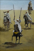 Fine Art - Painting, American:Contemporary   (1950 to present)  , FIGUEROA (Late 20th Century). Arab Riflemen, 1980. Oil onmasonite. 11-3/4 x 7-3/4 inches (29.8 x 19.7 cm). Signed and d...