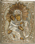 Decorative Arts, Continental:Other , A RUSSIAN ICON OF THE VLADIMIR MOTHER OF GOD. 19th Century. 7 x5-3/4 inches (17.8 x 14.6 cm). ...