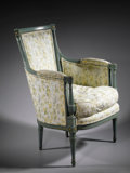 Furniture : French, A FRENCH DIRECTOIRE PAINTED WOOD BERGERE. 37 x 26-1/2 x 17 inches(94.0 x 67.3 x 43.2 cm) . ...