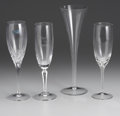 Art Glass:Other , AN ASSORTED GROUP OF CRYSTAL CHAMPAGNE FLUTES. Circa 1970. 9 inches(22.9 cm) high, tallest. ... (Total: 18 Items)