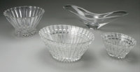 AN ASSORTED GROUP OF GLASS BOWLS Circa 1975-2000 17-1/2 inches (44.4 cm) long, largest