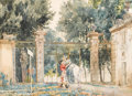 Fine Art - Painting, European:Antique  (Pre 1900), CESARE AGOSTINO DETTI (Italian, 1847-1914). The Arrival of the Couple to the Gate. Watercolor on paper. 17-1/2 x 23-3/4 ...