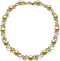 Estate Jewelry:Necklaces, Golden South Sea Cultured Pearl, Diamond, Gold Necklace. ...