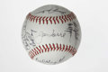 Autographs:Baseballs, 1983 Atlanta Braves Team Signed Baseball. Clean white orb that weoffer here has the signatures of 26 members of the 1983 ...