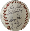 "Autographs:Baseballs, 1948 Detroit Tigers Team Signed Baseball. ""Detroit Tigers"" souvenirball we see here has been adorned with the fine signatu..."