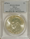 Eisenhower Dollars: , 1976-S $1 Silver MS68 PCGS. PCGS Population (318/0). NGC Census: (63/0). Mintage: 11,000,000. Numismedia Wsl. Price for NGC...