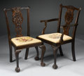 Furniture : American, A SET OF EIGHT CHIPPENDALE-STYLE MAHOGANY DINING CHAIRS. Early 20th Century. 39 x 21-3/4 x 22 inches (99.1 x 55.2 x 55.9 cm)... (Total: 8 Items)