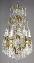 Decorative Arts, French:Lamps & Lighting, A FRENCH CUT CRYSTAL EIGHT-LIGHT CHANDELIER AND PAIR OF SCONCES.Early 20th Century. 42 inches (106.7 cm) high, chandelier. ...(Total: 3 Items)