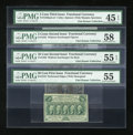 Fractional Currency:Second Issue, Four PMG Graded Fractionals.. ... (Total: 4 notes)