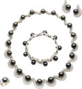 Estate Jewelry:Suites, Black South Sea Cultured Pearl, Diamond, White Gold Jewelry Suite. ... (Total: 5 Items)