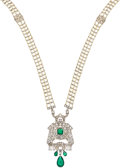 Estate Jewelry:Necklaces, Art Deco Emerald, Diamond, Pearl, Gold, Platinum Necklace, Cartier. ...