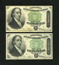 A Pair of Fr. 1379 50c Fourth Issue Dexters Very Fine