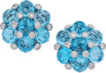 Estate Jewelry:Earrings, Blue Topaz, Diamond, White Gold Earrings, Paolo Costagli. ...(Total: 2 Items)