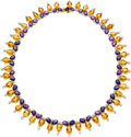 Estate Jewelry:Necklaces, Citrine, Amethyst, Diamond, Gold Necklace. ...