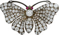 Estate Jewelry:Brooches - Pins, Antique Diamond, Ruby, Silver-Topped Gold Brooch. ...