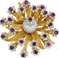 Estate Jewelry:Brooches - Pins, Ruby, Diamond, Gold Brooch, E. Pearl. ...