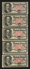Fractional Currency:Fifth Issue, Fr. 1380 50c Fifth Issue Five Examples.... (Total: 5 notes)