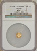 California Fractional Gold: , 1872 25C Indian Octagonal 25 Cents, BG-791, R.3, MS63 NGC. NGCCensus: (12/32). PCGS Population (71/108). (#10618)...