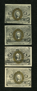 Fractional Currency:Second Issue, Four Second Issue 5c Fractionals:... (Total: 4 notes)