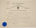 """Autographs:U.S. Presidents, Theodore Roosevelt Document Signed as president and countersignedby Secretary of War Elihu Root. One page, 21"""" x 16"""", A..."""