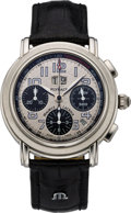 Timepieces:Wristwatch, Maurice Lacroix Indy 500 Flyback Chronograph, Grand Guichet, Quantieme Annuel, ML 15 Steel Wristwatch, modern. ...