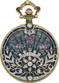 Timepieces:Pendant , Swiss Gold Enamel & Diamond Pendant Watch, circa 1910. ...