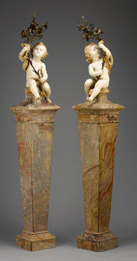 A PAIR OF FRENCH MARBLE AND GILT BRONZE TORCHIERES Late 19th Century 96 x 15-1/2 x 15-1/2 inches (243.8 x 39.4