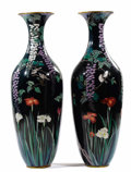 Asian:Japanese, A PAIR OF JAPANESE CLOISONNÉ PALACE VASES. Meiji Period, 19thCentury. 58 inches (147.3 cm) high, each. . ... (Total: 2 Items)
