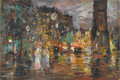 Fine Art - Painting, Russian, Attributed to KONSTANTIN ALEXEIVITCH KOROVIN (Russian, 1861-1939).Paris. Oil on cardboard. 15 x 21-1/2 inches (38.1 x 5...