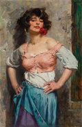 Fine Art - Painting, Russian:Modern (1900-1949), RUSSIAN SCHOOL (20th Century). Untitled (Woman with a Rose).Oil on canvas. 43-1/4 x 27 inches (109.9 x 68.6 cm). Signed...