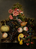 Fine Art - Painting, European:Other , GERMAN SCHOOL (19th Century). Still Life with Fruit andFlowers. Oil on board. 30-3/4 x 22-3/4 inches (78.1 x 57.8 cm)....