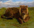 Fine Art - Painting, European:Antique  (Pre 1900), ROSA BONHEUR (French, 1822-1899). Lioness Posing, 1874. Oilon canvas. 21-1/4 x 25 inches (54.0 x 63.5 cm). Signed and d...