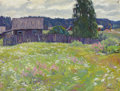Paintings, NIKOLAI EFIMOVICH TIMKOV (Russian, 1912-1993). Field in Bloom, 1952. Oil on cardboard . 15 x 19-1/2 inches (38.1 x 49.5 ...