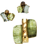 Estate Jewelry:Suites, Green Beryl, Gold Jewelry Suite, Seaman Schepps, circa 1950. ... (Total: 3 Items)