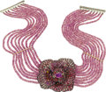 Estate Jewelry:Necklaces, Multi-Colored Sapphire, Ruby, Diamond, Gold, Silver Necklace, Andrea Molinari . ...