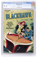 Golden Age (1938-1955):Adventure, Blackhawk #21 (Quality, 1948) CGC NM- 9.2 Off-white pages. ...