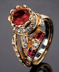 Gems:Jewelry, RED BERYL RING WITH DIAMONDS. ...