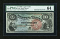Large Size:Legal Tender Notes, Fr. 96 $10 1869 Legal Tender PMG Choice Uncirculated 64....