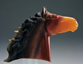 Lapidary Art:Carvings, CARVED AGATE HORSE HEAD. ...