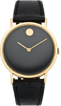 "Timepieces:Wristwatch, Movado Gent's Gold ""Museum"" Watch, circa 1970's. ..."