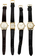 Timepieces:Wristwatch, Four Gent's Gold Wristwatches, Longines, Elgin, Bulova & LucienPiccard, circa 1940's to 60's. ... (Total: 4 Items)