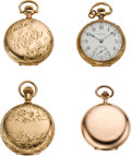 Timepieces:Pocket (post 1900), Lot of Four Lady's Gold Pocket Watches, circa 1900 to 1910. ...(Total: 4 Items)