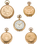 Timepieces:Pocket (post 1900), Five Lady's American Pocket Watches, circa 1890 to 1915. ... (Total: 5 Items)